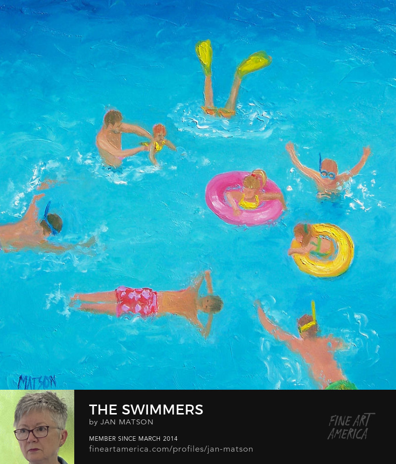Oil painting of children swimming and splashing about in the ocean.