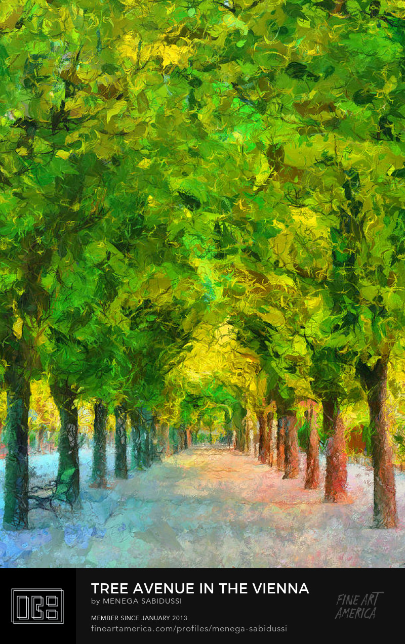 Tree Avenue Alley Park trees painting vienna austria menega sabidussi