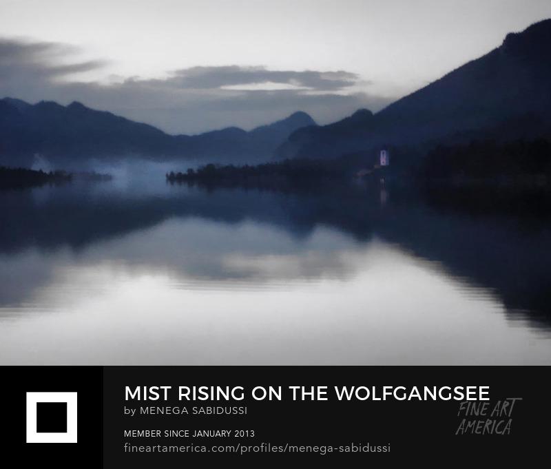 Mist Wolfgangsee lake Dusk austria salzkammergut painting watercolor effect sabidussi