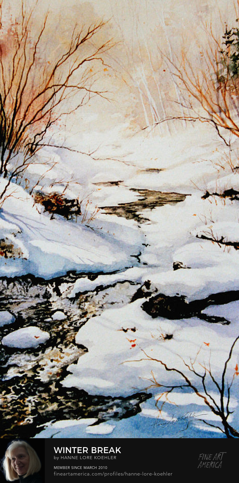 Winter Sun Meandering Creek Painting