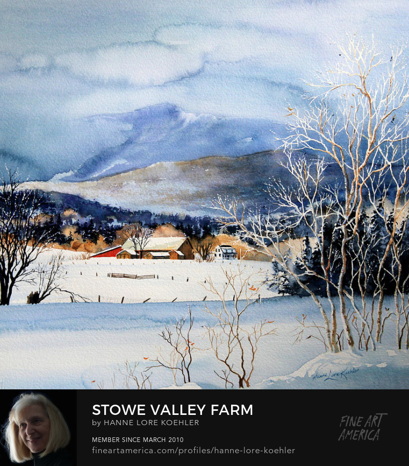 Stowe Valley Winter Farm Art Prints