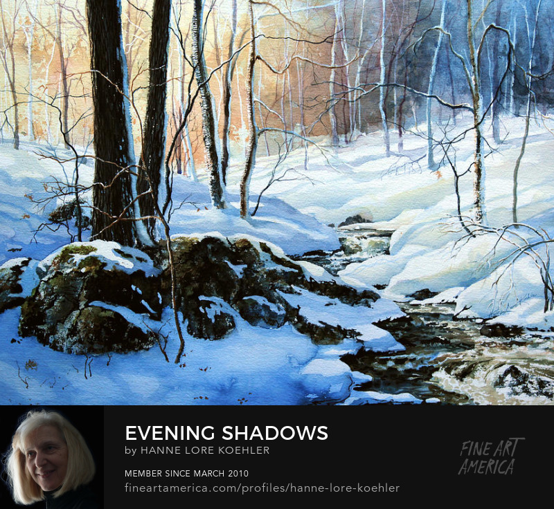 Evening Shadows On A Winter Woods Creek