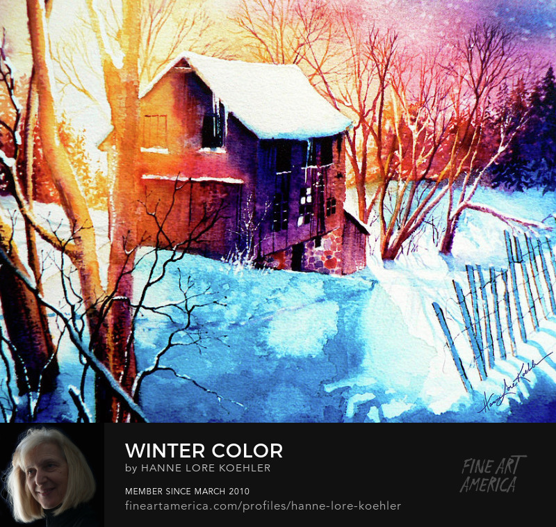 Colorful Sunset On Winter Barn Painting