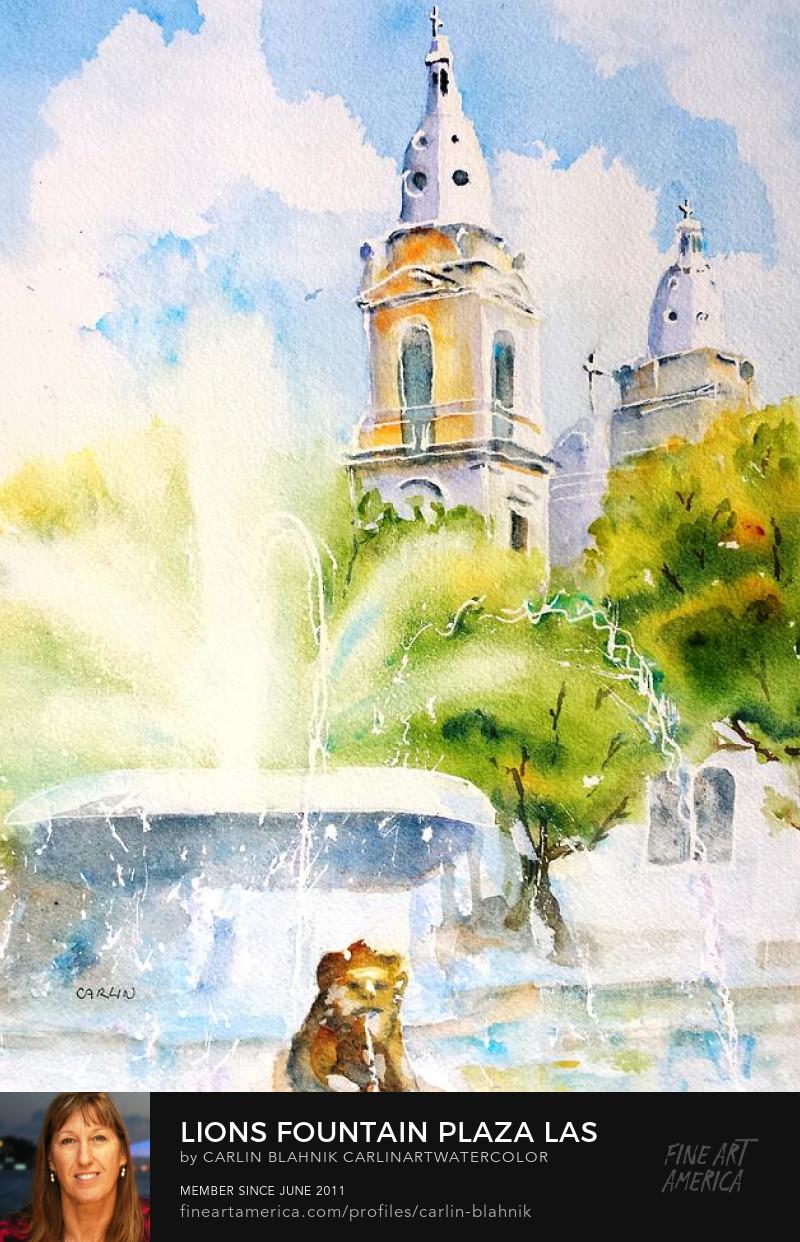 Ponce Puerto Rico Watercolor Painting Print by Carlin Blahnik