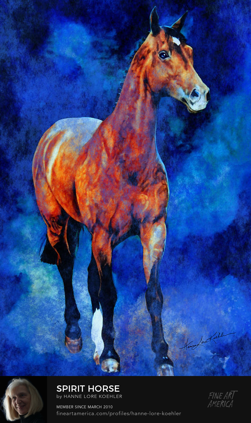 Painting of a champion show jumping horse