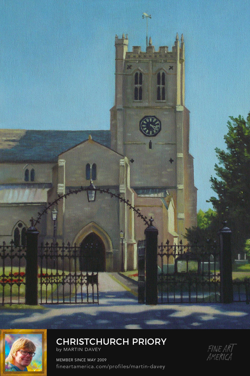 Christchurch Priory dorset-oil painting m p davey
