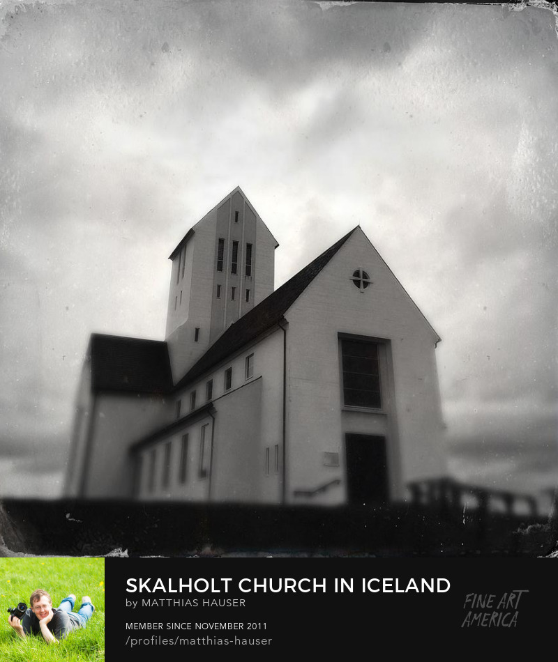 Skalholt church Iceland Art Prints