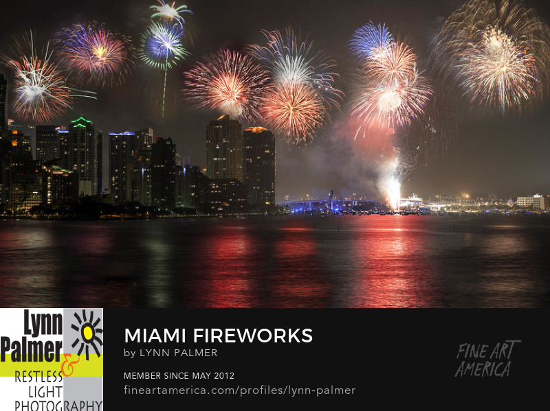 miami fireworks night evening urban urbanscape celebrations