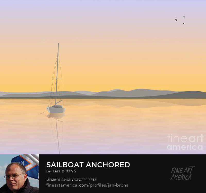 Sailboat Anchored - promotion - Art Prints