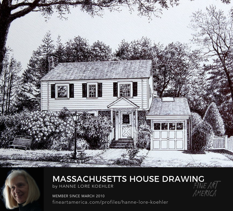 Massachusetts House Portrait Commission Ink Drawing And Art Prints