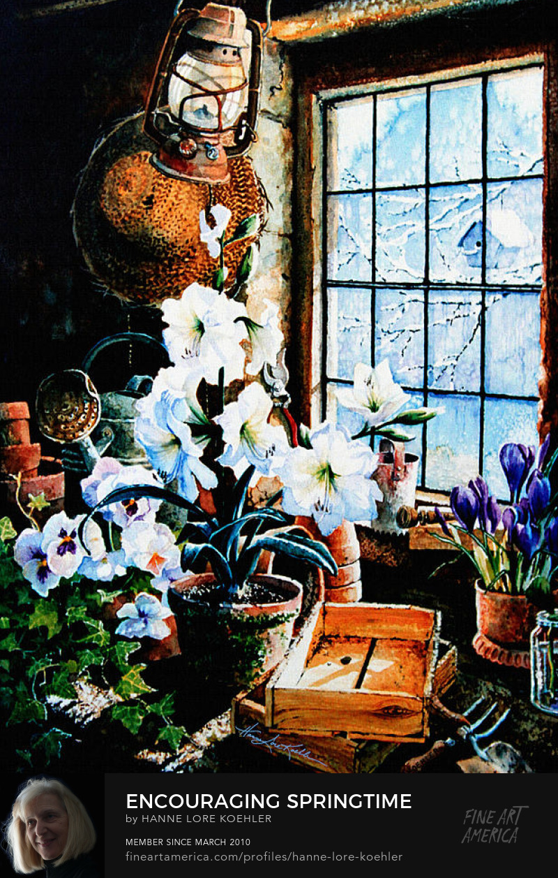 Still Life Painting Of Potting Shed Greenhouse Blooms