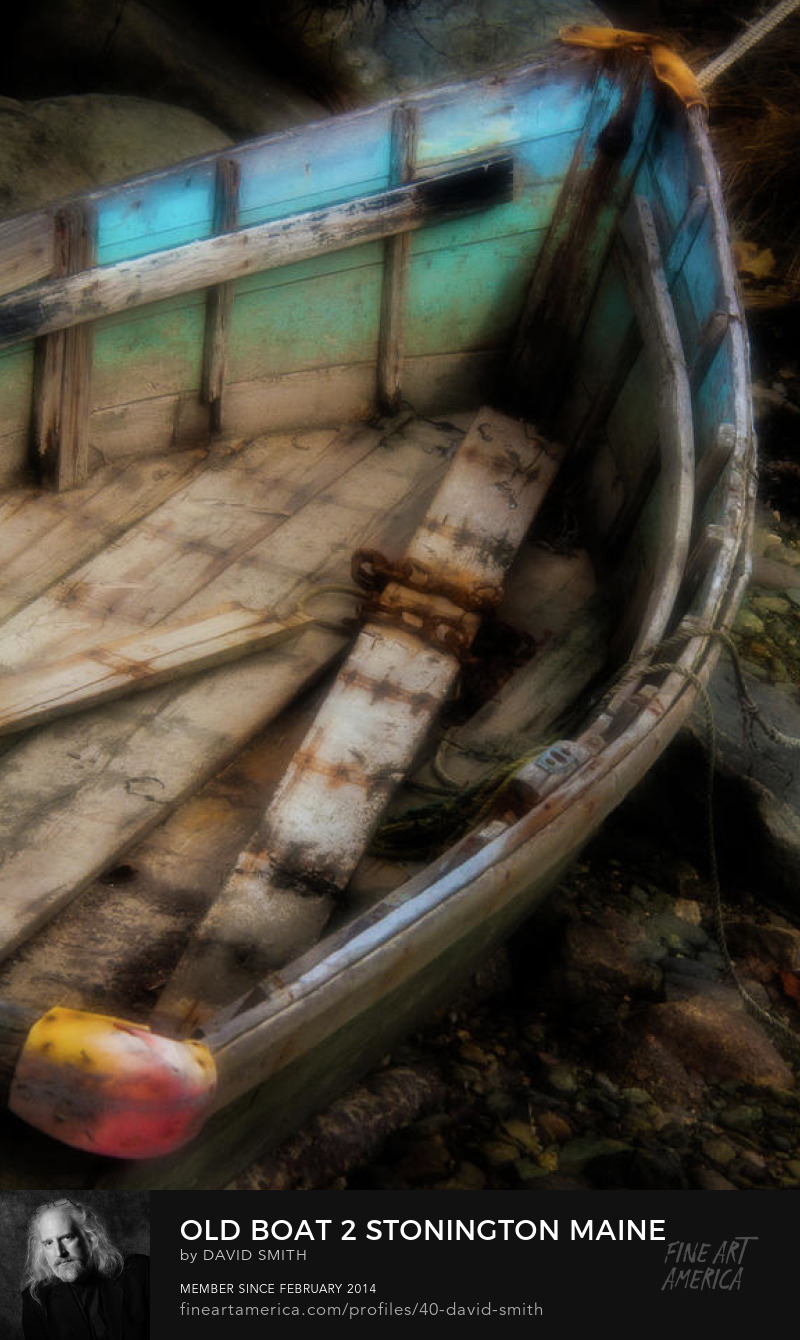 Colorful soft focus photograph of an old rowboat in Stonington  Deer Isle Hancock County Maine