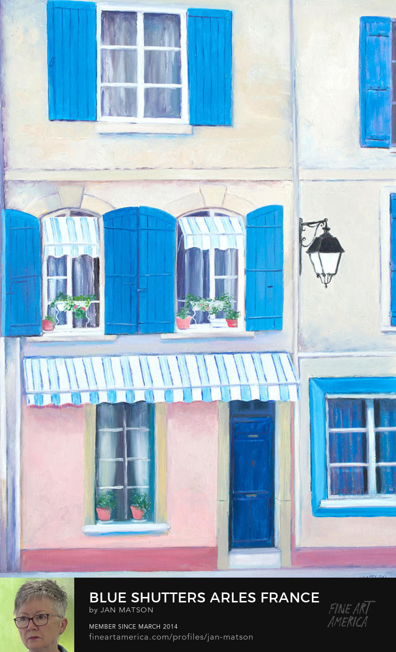 A painting of a house in Arles, France, with blue shutters.
