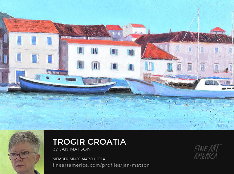 A painting of the harbour of Trogir in Croatia