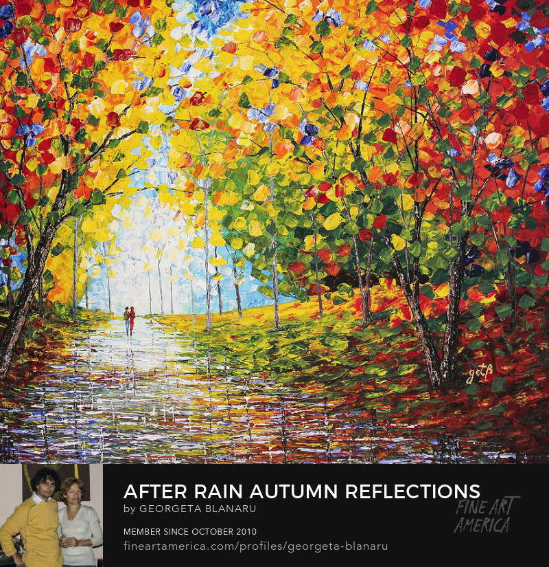 After Rain Autumn Reflections Acrylic Palette Knife Painting Art Prints FineArtAmerica Pixels Store