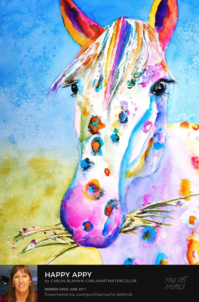 Appaloosa Horse Watercolor Painting Print by Carlin Blahnik