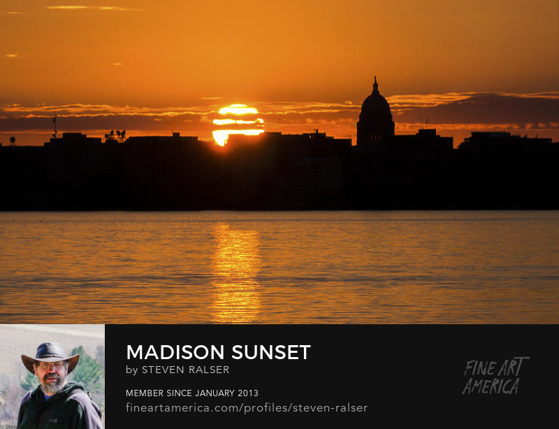 sunset over the Capitol, Madison, Wisconsin