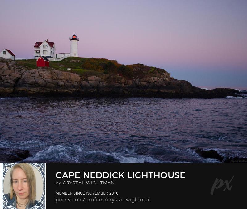 Beautiful landscape of Cape Neddick Lighthouse (Nubble Lighthouse) at sunset.
