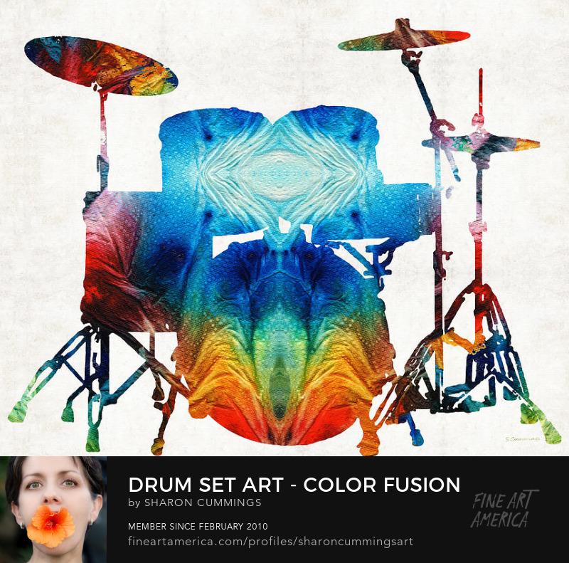 Drum Set Art Colorful Music
