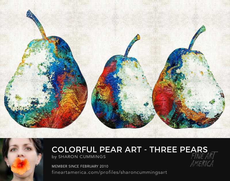 Colorful Pear Art Prints
