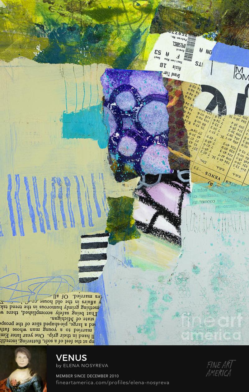 Venus mixed media collage by Elena Nosyreva