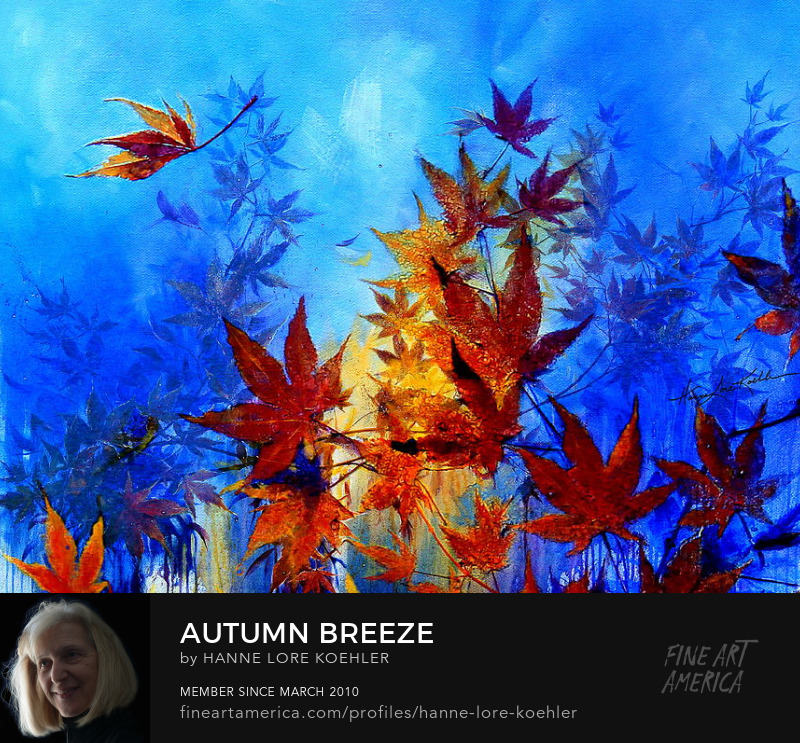Autumn Maple Leaves Blowing In The Wind Painting