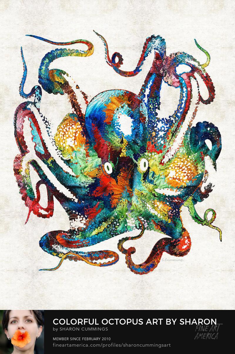 Colorful Octopus Art Beach Decor