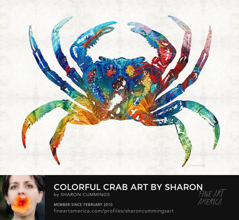 Colorful Crab Art Beach House