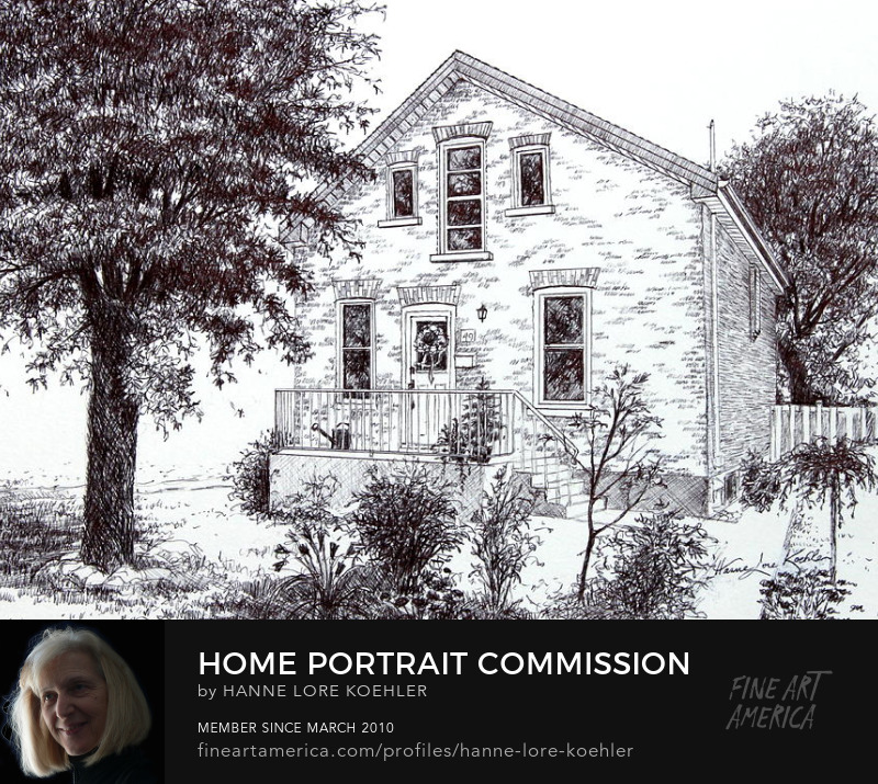 House Portrait Commission Ink Drawing And Art Prints