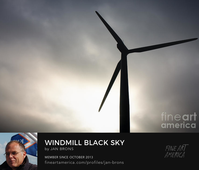 Windmill black sky - Photography Prints