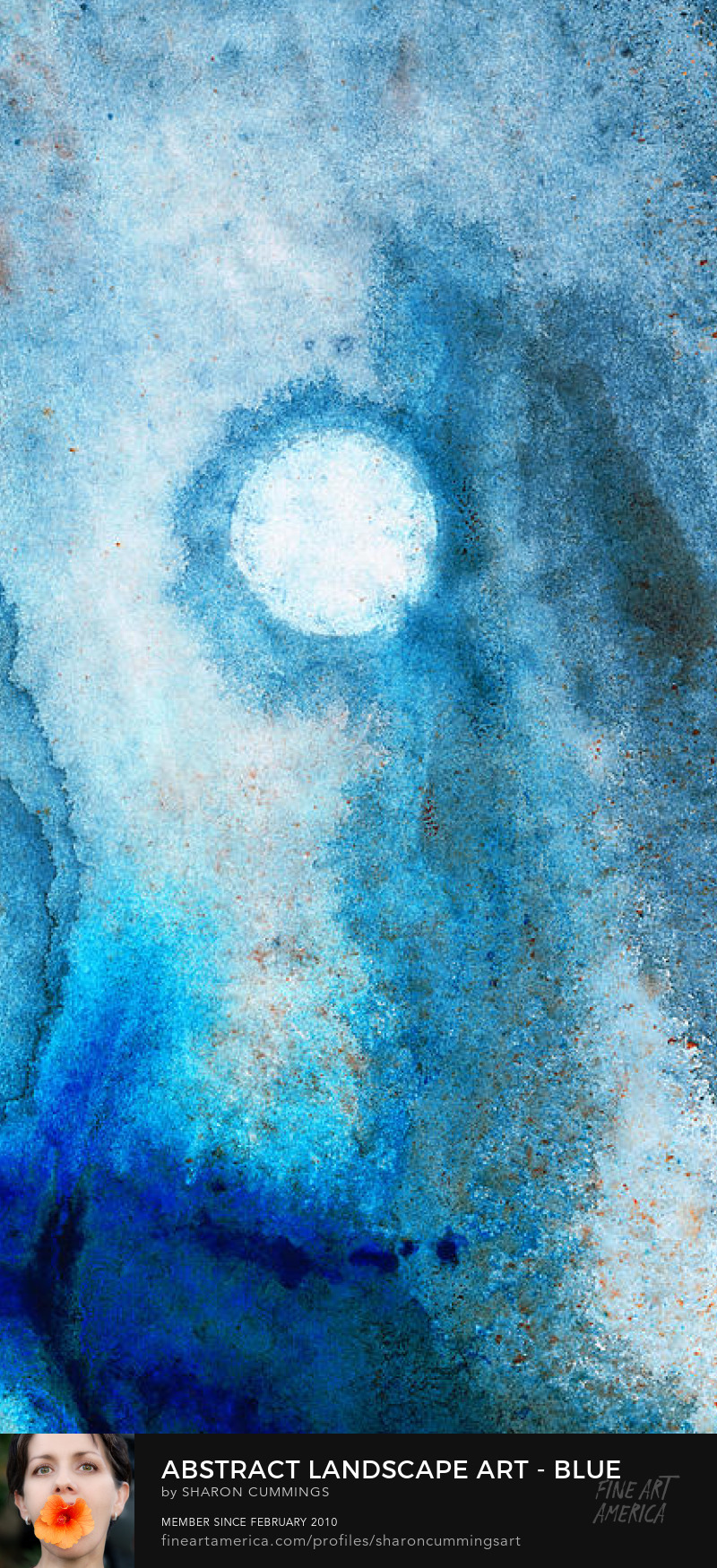 Abstract Blue Landscape Moon Art Prints