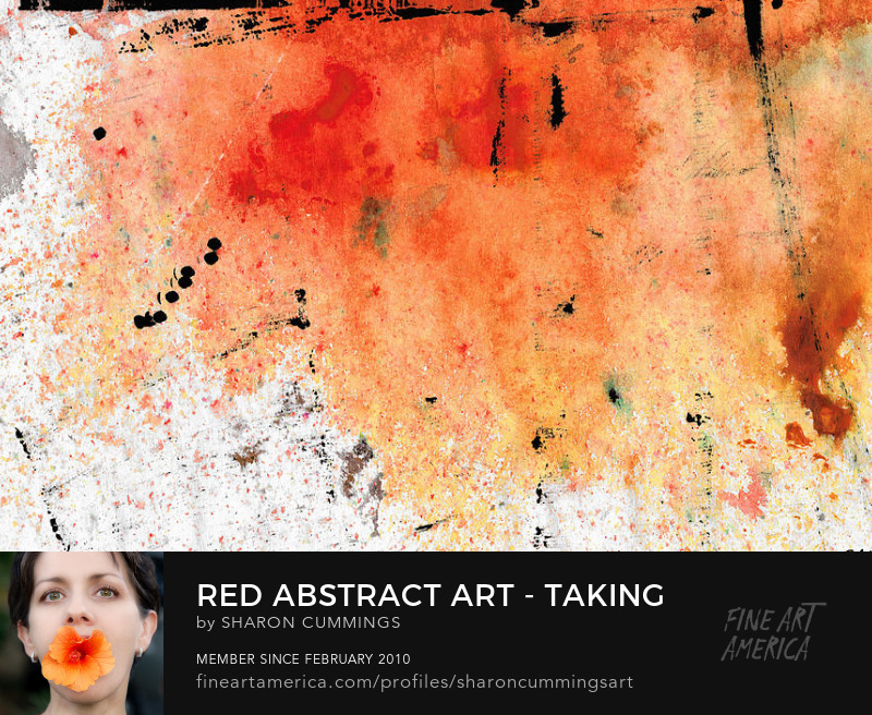 Red Abstract Art Prints Asian Decor