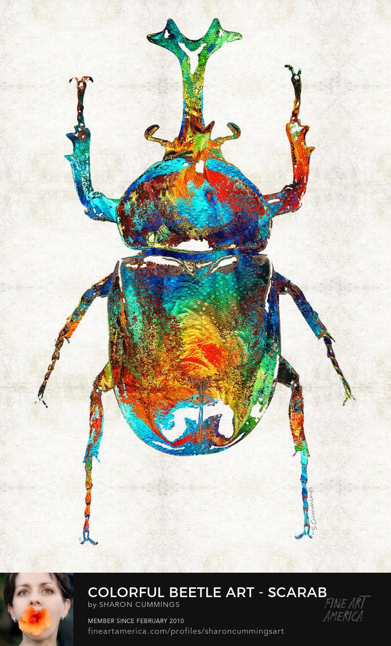 Colorful Beetle Art Scarab Prints