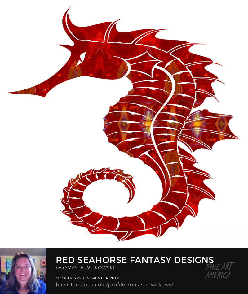 Red Seahorse Fantasy Designs Red and Root Chakra Art Prints