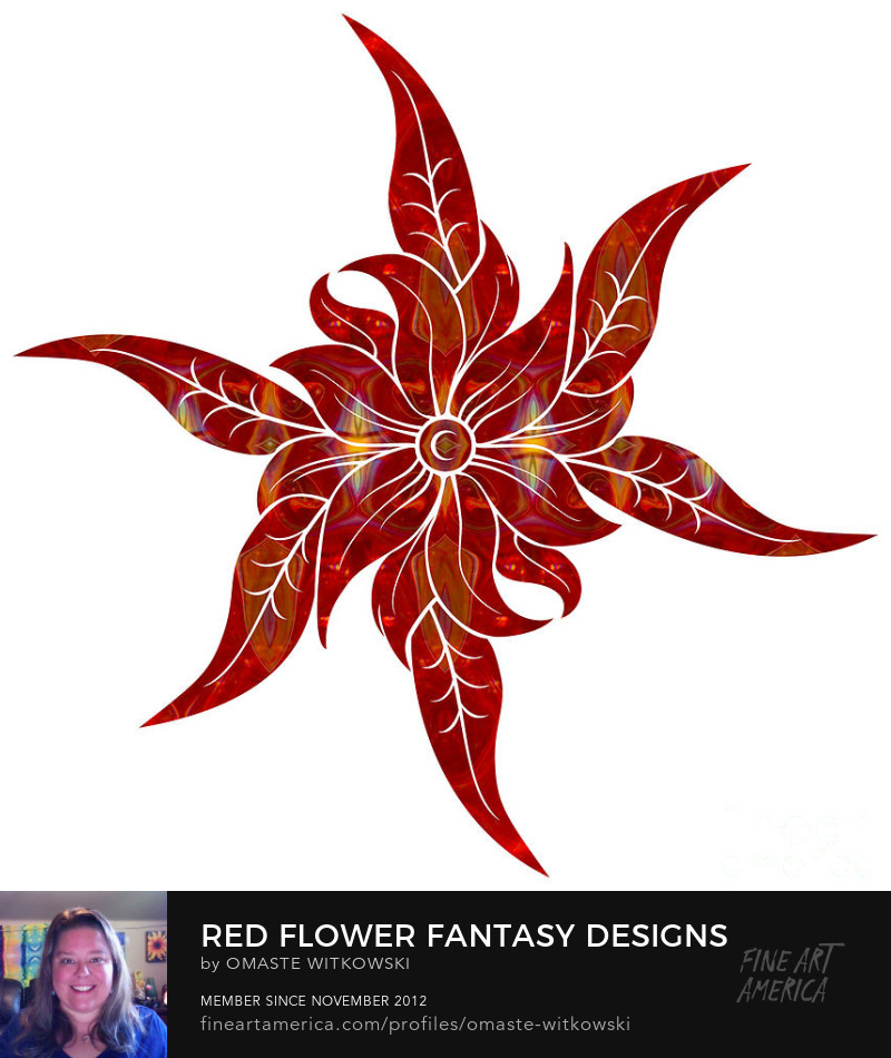 Red Flower Fantasy Designs Red and Root Chakra Art Prints