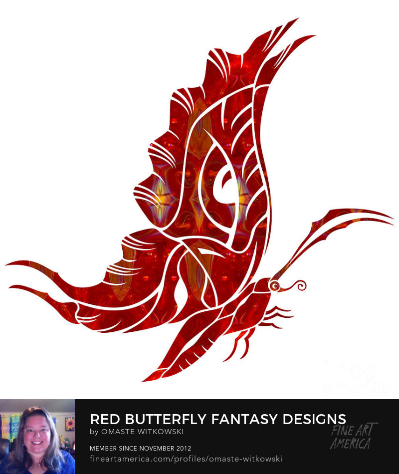 Red Butterfly Fantasy Designs Red and Root Chakra Art Prints