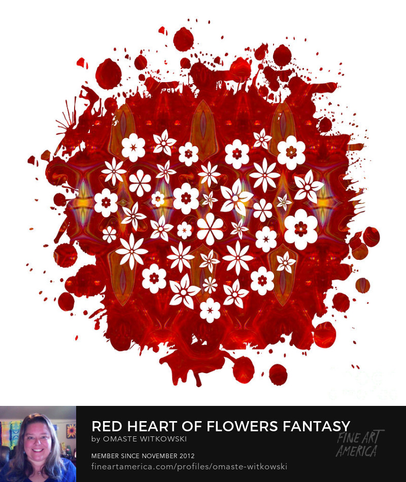 Red Heart Of Flowers Fantasy Designs Red and Root Chakra Art Prints