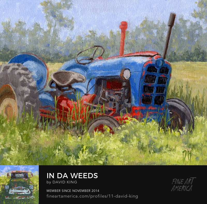 art painting tractor Ford abandoned farm agriculture