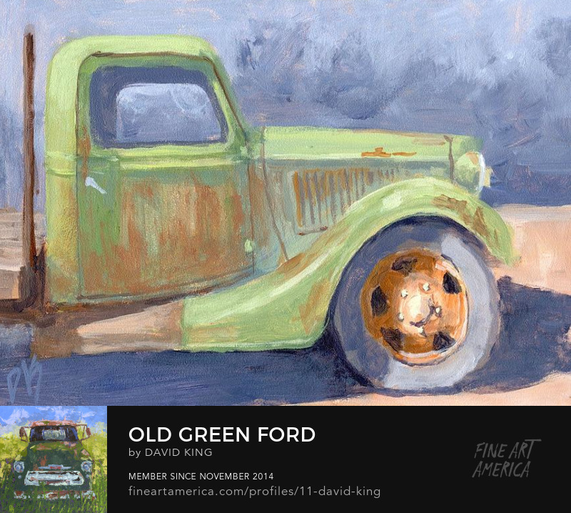 art painting truck old Ford green flatbed rusty