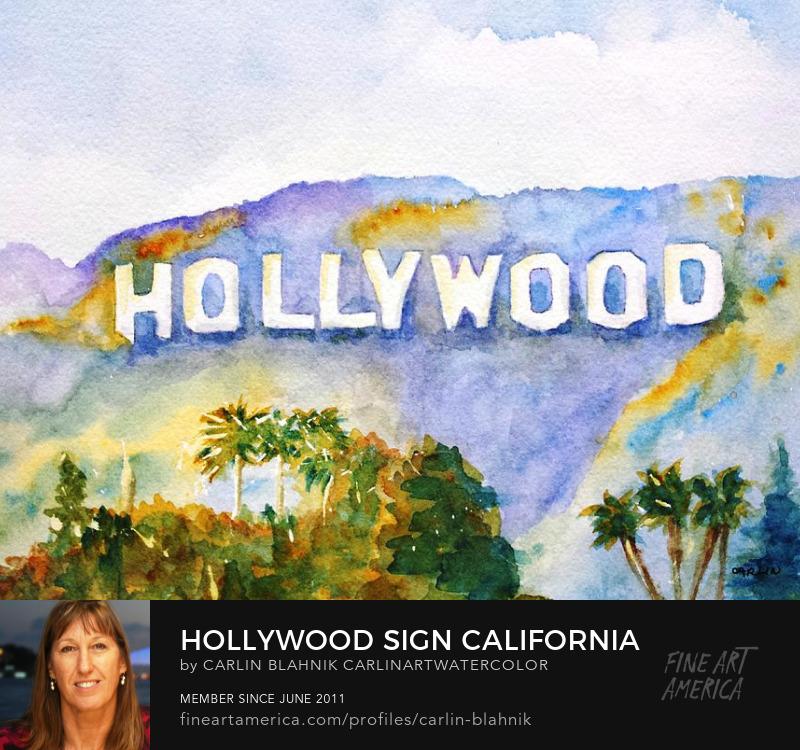 Hollywood Sign Watercolor Painting Print by Carlin Blahnik