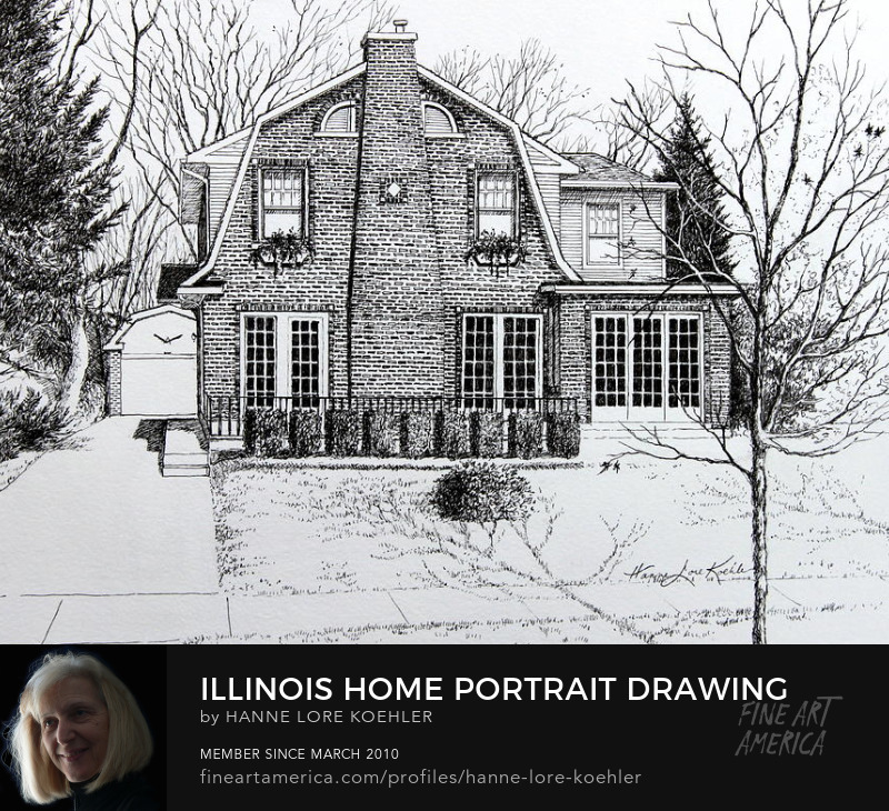 House Portrait Commission Ink Drawing from Google street view