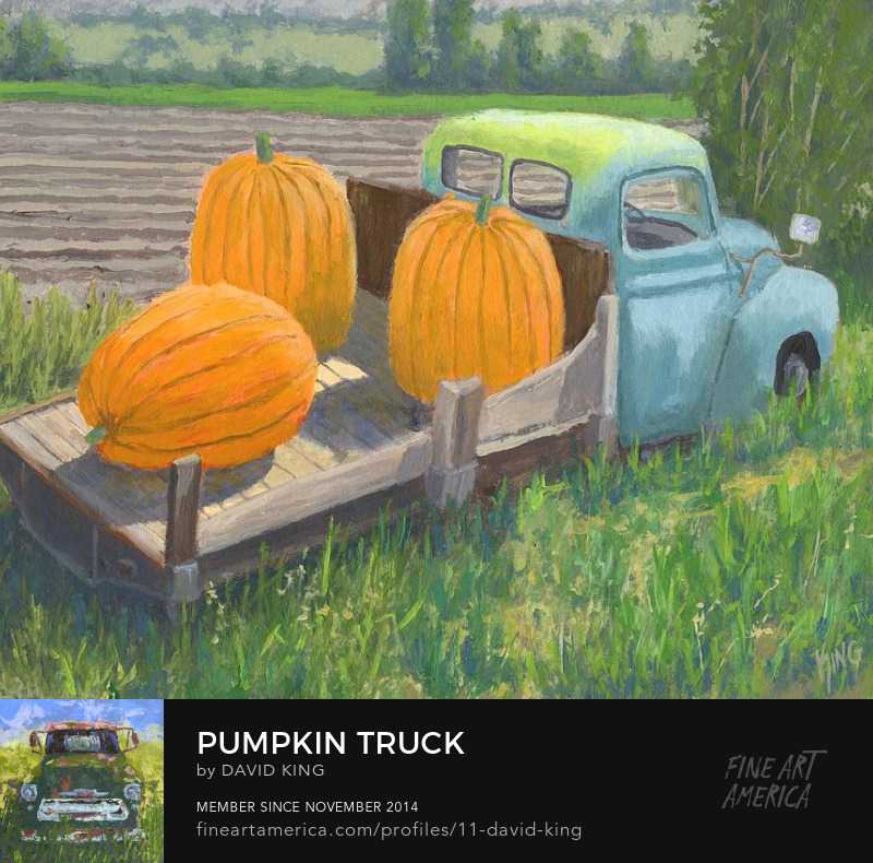 art painting truck pumpkin international farm rural flatbed David King Studio