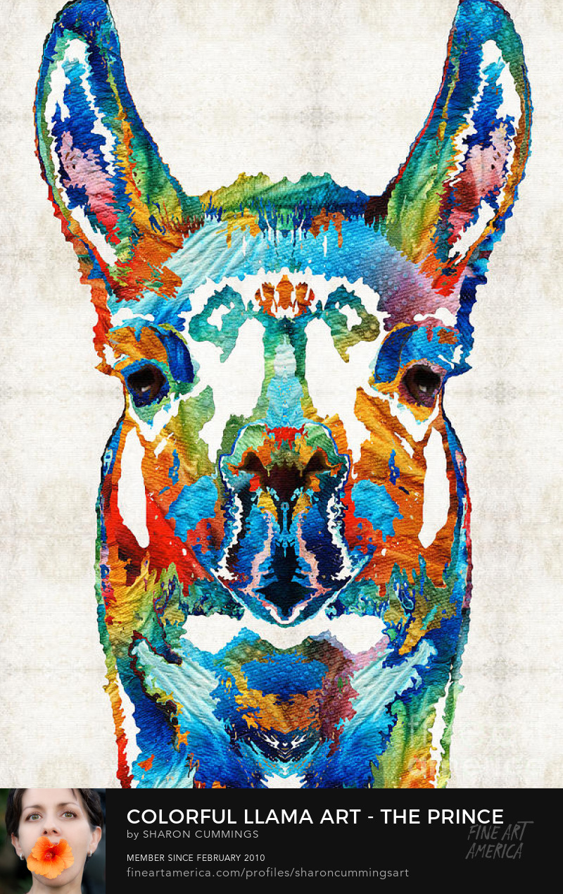 llama art prints colorful animals