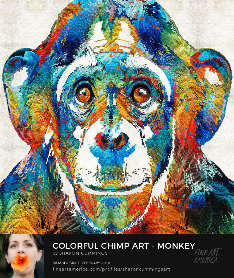 Colorful Monkey Chimp Art Prints