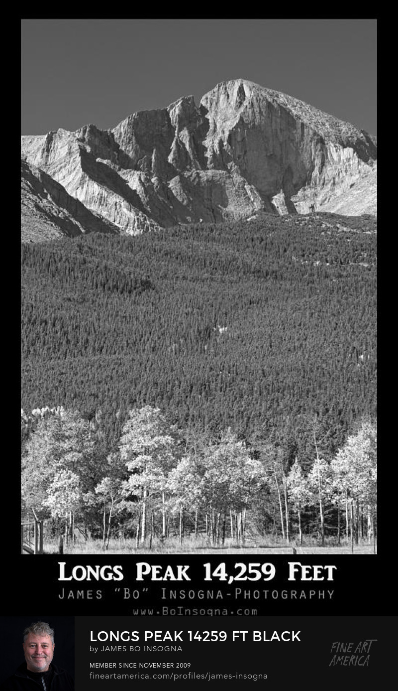Longs Peak View Black and White Poster Art Online