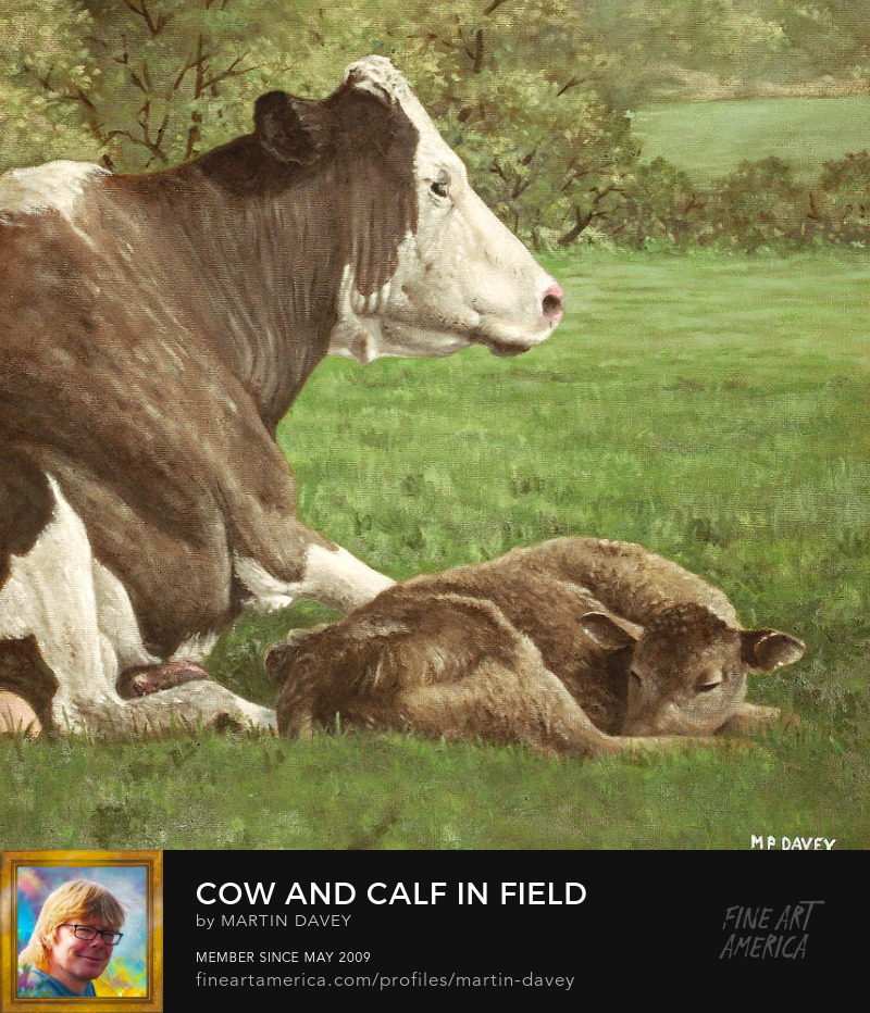 Cow And Calf In Field-oil painting m p davey