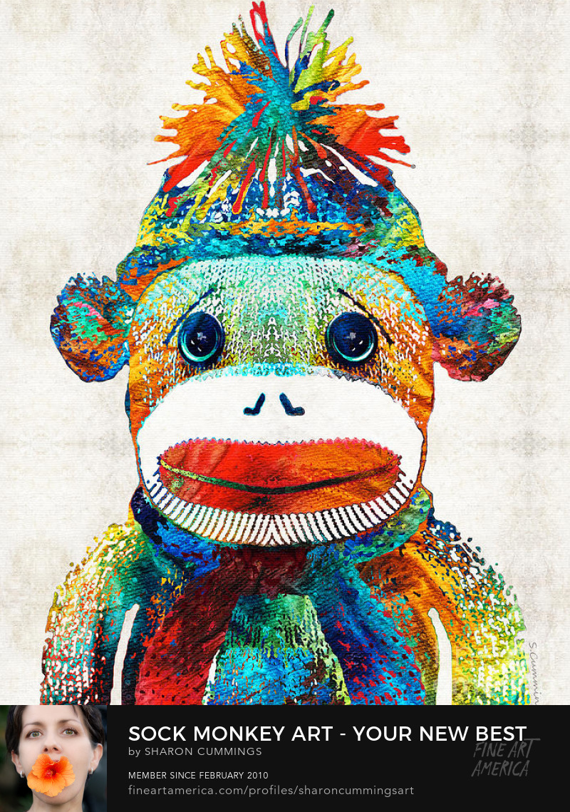 Sock Monkey Toy Art Prints