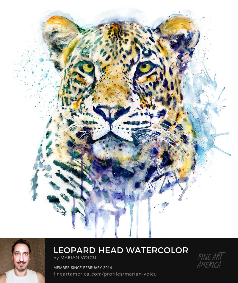 Watercolor painting of a leopard head