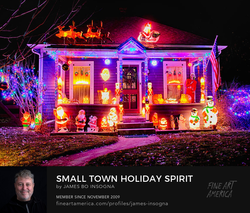 Small Town Holiday Spirit Art  Print