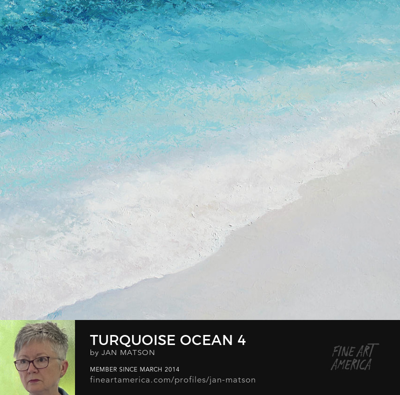 An oil painting of the turquoise ocean and surf and sand.